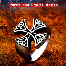 Load image into Gallery viewer, GUNGNEER Celtic Knot Trinity Cross Stainless Steel Ring Amulet Scandinavian Jewelry Men Women