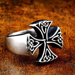 GUNGNEER Celtic Knot Trinity Cross Stainless Steel Ring Amulet Scandinavian Jewelry Men Women