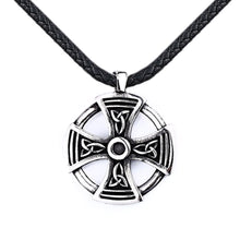 Load image into Gallery viewer, GUNGNEER Irish Celtic Knot Cross Trinity Pendant Necklace Stainless Steel Jewelry