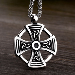 GUNGNEER Celtic Knot Cross Trinity Pendant Necklace Runes Ring Stainless Steel Jewelry Set