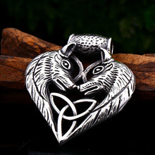 Load image into Gallery viewer, GUNGNEER Double Wolf Head Celtic Triquetra Knot Heart Pendant Necklace Stainless Steel Jewelry