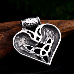 GUNGNEER Double Wolf Head Celtic Triquetra Knot Heart Pendant Necklace Stainless Steel Jewelry