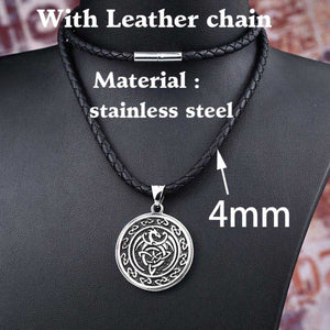 GUNGNEER Celtic Knot Dragon Trinity Pendant Necklace Stainless Steel Jewelry for Men Women