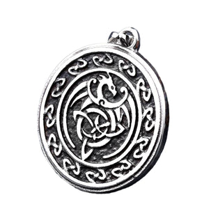 GUNGNEER Celtic Knot Dragon Trinity Pendant Stainless Steel Jewelry for Men Women