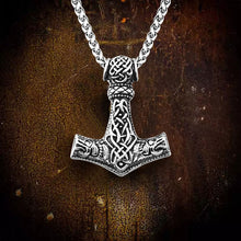 Load image into Gallery viewer, GUNGNEER Thor Hammer Mjolnir Pendant Necklace with Bracelet Stainless Steel Amulet Jewelry Set