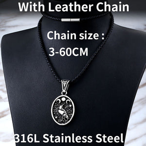 GUNGNEER Stainless Steel Nordic Viking Raven Pendant Necklace Jewelry Gift for Men Women