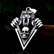Load image into Gallery viewer, GUNGNEER Stainless Steel Biker Skull Ring Bear Necklace Punk Halloween Jewelry Set Men Women