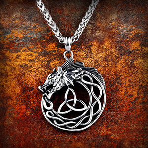 GUNGNEER Celtic Triquetra Knot Viking Dragon Stainless Steel Pendant Necklace Jewelry Men Women