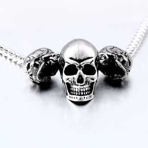 GUNGNEER Stainless Steel Freemason Ring Biker Skull Pendant Necklace Jewelry Set