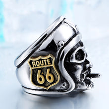 Load image into Gallery viewer, GUNGNEER 2 Pcs Motorcycle Engine Route 66 MC Stainless Steel Biker Ring Jewelry SetMen Women