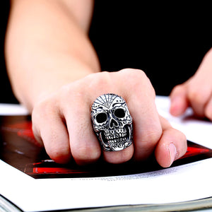 GUNGNEER Stainless Steel Flower Garden Skull Ring Halloween Biker Gothic Jewelry Men Women