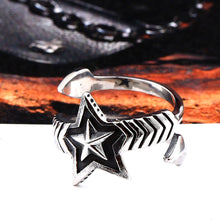 Load image into Gallery viewer, GUNGNEER Wicca Pentagram Star Stainless Steel Punk Ring Rope Chain Bracelet Pagan Jewelry Set