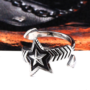 GUNGNEER Wicca Pentagram Star Stainless Steel Punk Ring Rope Chain Bracelet Pagan Jewelry Set