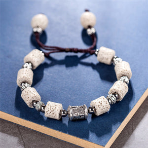 HoliStone Adjustable Beautiful Beige Natural Lava Stone Charm Bracelet for Women