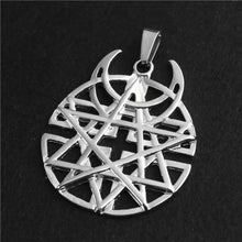 Load image into Gallery viewer, GUNGNEER Star Moon Wicca Pagan Pentagram Pentacle Pendant Necklace Celtic Ring Jewelry Set