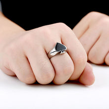 Load image into Gallery viewer, GUNGNEER Stainless Steel Black Cool Spade Lucky Ring Casino Gambling Poker Jewelry Men Women