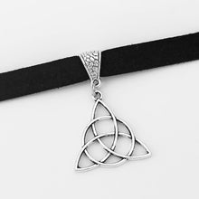 Load image into Gallery viewer, GUNGNEER Celtic Triquetra Knot Charm Choker Leather Infinity Bracelet Jewelry Set Men Women