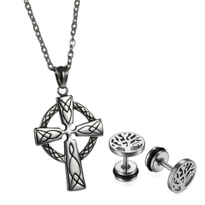 GUNGNEER Stainless Steel Celtic Knot Cross Pendant Necklace Tree of Life Earrings Jewelry Set