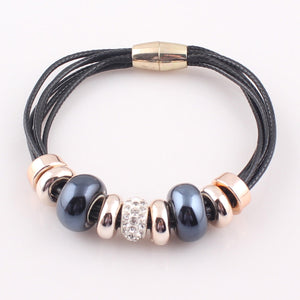 HoliStone Trendy Beaded Leather Bracelet with Magnetic Clasp Lucky Charm for Women and Men
