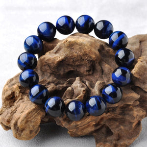 HoliStone Blue Tiger Eye Stone Beads Bracelet ? Anxiety Stress Relief Yoga Beads Bracelets Chakra Healing Crystal Bracelet for Women and Men
