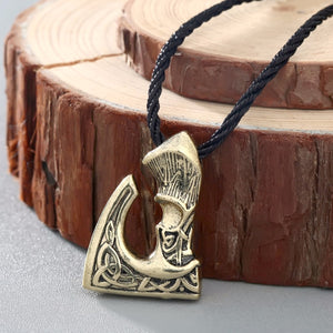 GUNGNEER Celtic Knot Viking Battle Axe Stainless Steel Pendant Necklace Jewelry for Men Women
