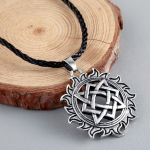 GUNGNEER Celtic Knots Viking Solar Stainless Steel Amulet Pendant Necklace Jewelry Accessories