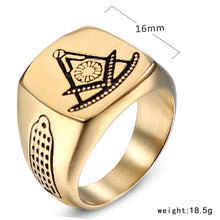 Load image into Gallery viewer, GUNGNEER Freemason Ring Stainless Steel Compass Square Biker Jewelry For Men