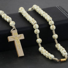 Load image into Gallery viewer, GUNGNEER Rosary Cross Necklace Christian Pendant Chain Jewelry Accessory Gift For Men Women