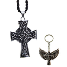 Load image into Gallery viewer, GUNGNEER Celtic Knots Triquetra Stainless Steel Pendant Necklace Eagle Key Chain Jewelry Set