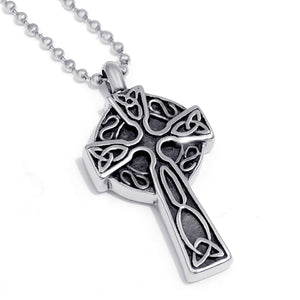GUNGNEER Celtic Irish Trinity Knot Cross Stainless Steel Pendant Necklace Jewelry for Men Women