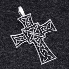 Load image into Gallery viewer, GUNGNEER Celtic Knot Cross Trinity Infinity Pendant Necklace Stainless Steel Jewelry