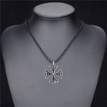 Load image into Gallery viewer, GUNGNEER Celtic Knot Iron Cross Pendant Necklace Stainless Steel Jewelry for Men Women