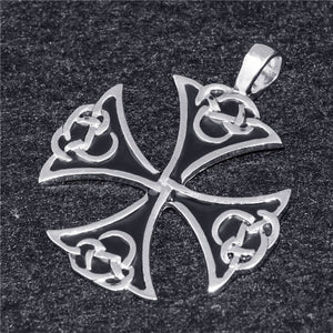 GUNGNEER Celtic Knot Iron Cross Pendant Necklace Stainless Steel Jewelry for Men Women