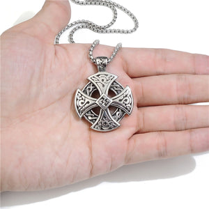 GUNGNEER Celtic Knot Knight Templar Cross Stainless Steel Pendant Necklace Jewelry Accessories