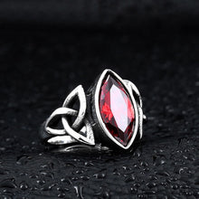 Load image into Gallery viewer, GUNGNEER Celtic Knots Red Stone Biker Punk Stainless Steel Ring Infinity Earrings Jewelry Set