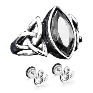 GUNGNEER Celtic Knots Red Stone Biker Punk Stainless Steel Ring Infinity Earrings Jewelry Set
