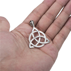 GUNGNEER Celtic Irish Triquetra Pendant Necklace Ring Stainless Steel Jewelry Set Men Women