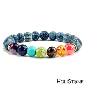 HoliStone 7 Chakra & Lava Stone Beaded Charm Bracelet for Women and Men ? Anxiety Stress Diffuser Balance with Reiki Healing
