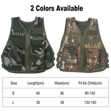Load image into Gallery viewer, 2TRIDENTS Camo Combat Vest for Kids Children Hunting Vest for Outdoor Activities Game Field Combat Training Protective Shield (CP Camouflage, Large)