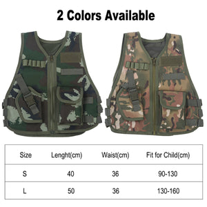 2TRIDENTS Camo Combat Vest for Kids Children Hunting Vest for Outdoor Activities Game Field Combat Training Protective Shield (CP Camouflage, Large)