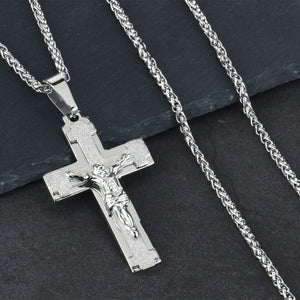 GUNGNEER God Cross Necklace Jesus Pendant Chain Jewelry Accessory Gift For Men Women