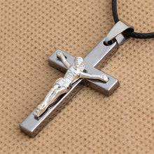 Load image into Gallery viewer, GUNGNEER Christ Cross Necklace Jesus Pendant God Jewelry Accessory Gift For Men Women