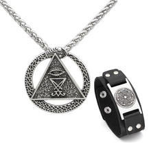Load image into Gallery viewer, GUNGNEER Satan Sigil Of Lucifer Pendant Necklace Leather Chain Bracelet Jewelry Set