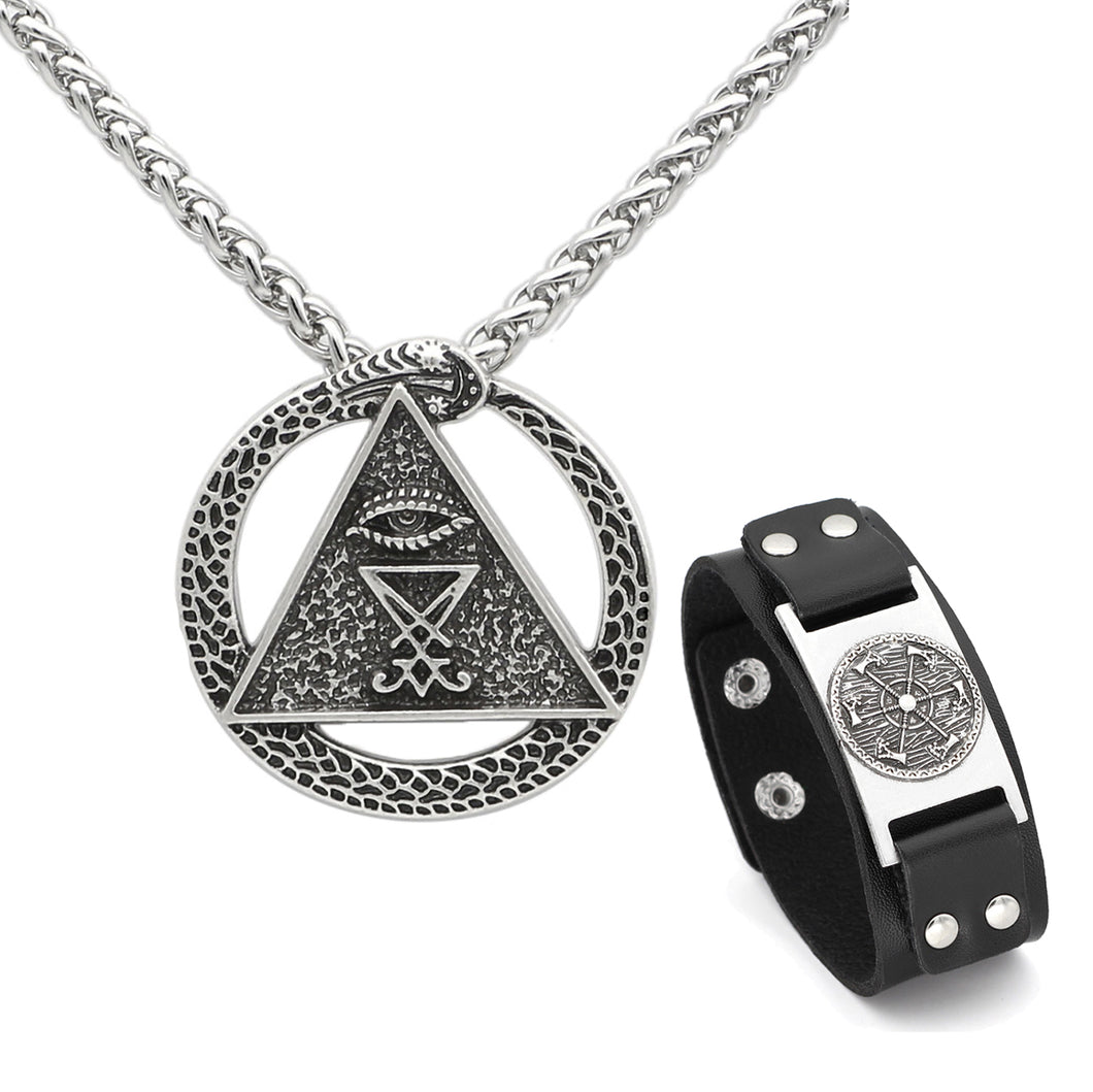 GUNGNEER Satan Sigil Of Lucifer Pendant Necklace Leather Chain Bracelet Jewelry Set