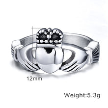 Load image into Gallery viewer, GUNGNEER Stainless Steel Heart Wedding Claddagh Ring with Celtic Triquetra Earrings Jewelry Set