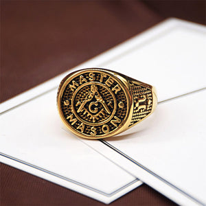 GUNGNEER Masonic Ring Multi-size Stainless Steel Master Mason Accessories For Men