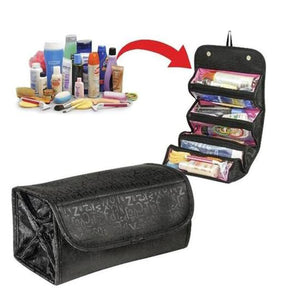 2TRIDENTS Roll Up Makeup Bag 8.66 x 7.87 x 3.15inches Cosmetic Zipped Tool Fashion For Female (Red)