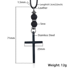 Load image into Gallery viewer, GUNGNEER Cross Pendant Leather Necklace Christ God Chain Jewelry Accessory For Men Women