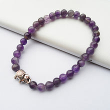 Load image into Gallery viewer, HoliStone 6mm Purple Amethyst Natural Stone & Lucky Elephant Charm Bracelet for Women and Men ? Anxiety Stress Relief Yoga Meditation Energy Balancing Lucky Charm Bracelet for Women and Men