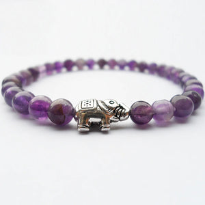 HoliStone 6mm Purple Amethyst Natural Stone & Lucky Elephant Charm Bracelet for Women and Men ? Anxiety Stress Relief Yoga Meditation Energy Balancing Lucky Charm Bracelet for Women and Men